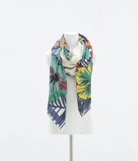 Zara Multicoloured Floral Scarf in Multicolor (only one ...