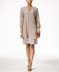 R & m richards Petite Shimmer-trim Shift Dress And Jacket ...