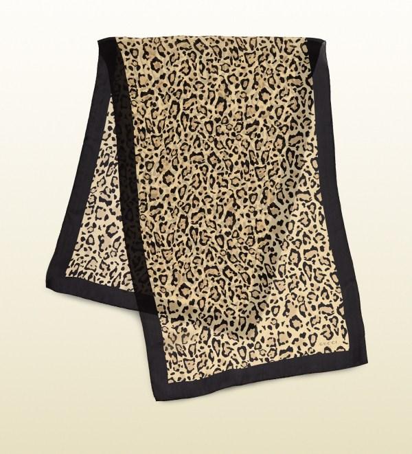f43d36ed890d Gucci Leopard Print Silk Satin Voile Stole Lyst