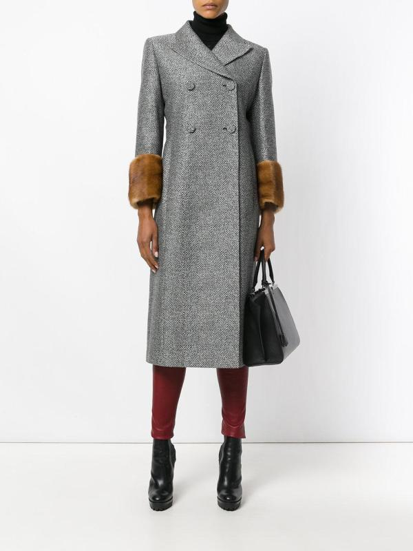 Fendi Tailored Fitted Coat In Gray - Lyst