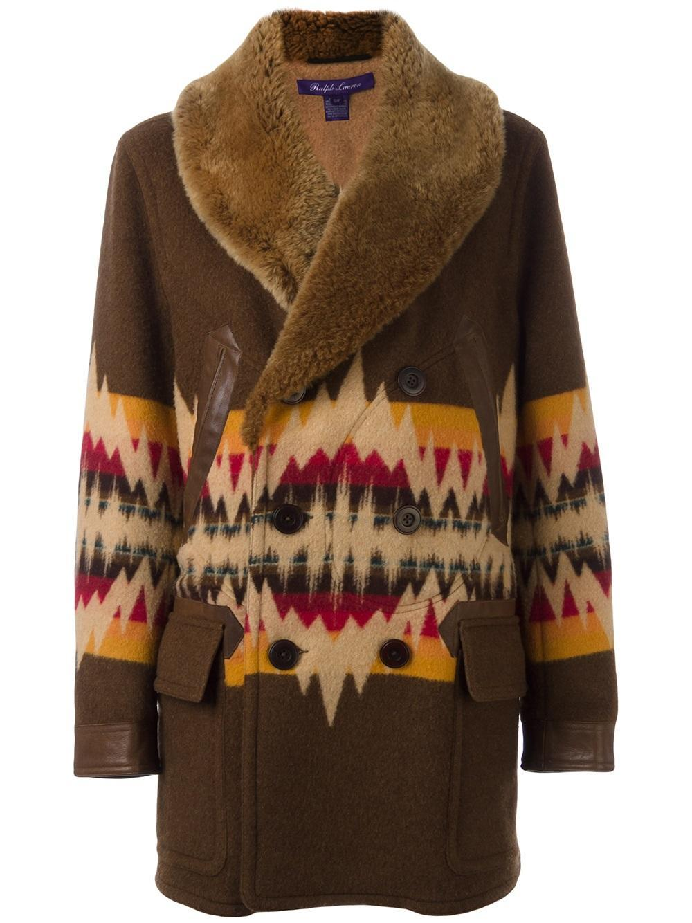 Lyst  Pink Pony Aztec Pattern Coat in Brown