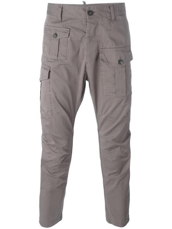 Dsquared Cropped Cargo Pants In Gray Men - Lyst