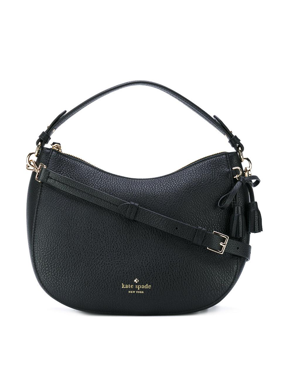Kate Spade Logo Print Shoulder Bag In Black Lyst