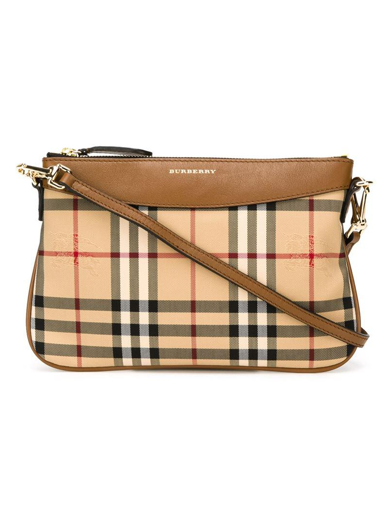 Burberry Leather Horseferry Check Crossbody Bag in Brown - Lyst
