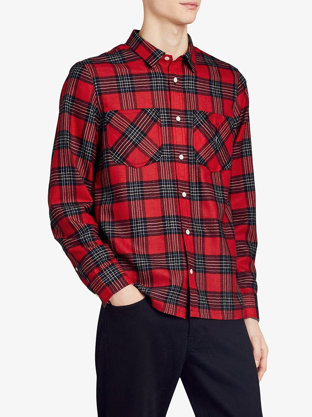 Burberry Wool Patch Pockets Tartan Shirt in Red for Men - Lyst