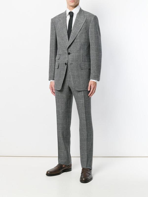 Tom Ford Prince Of Wales Check Suit In Gray Men - Lyst