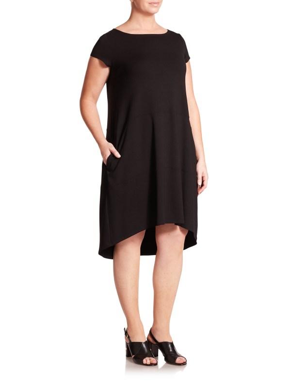 Eileen Fisher Black Bateau Neck Dress