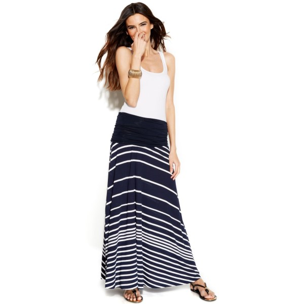 International Concepts Striped Convertible Maxi Skirt