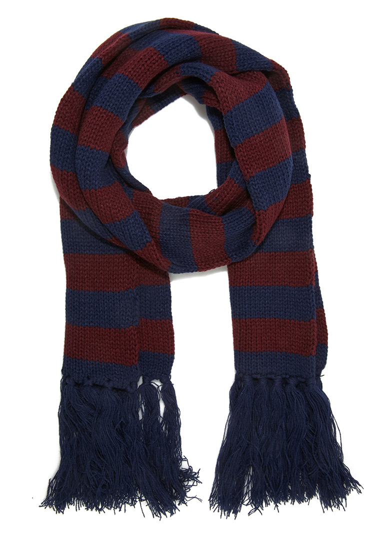 Forever 21 Striped Fringe Scarf in Blue for Men