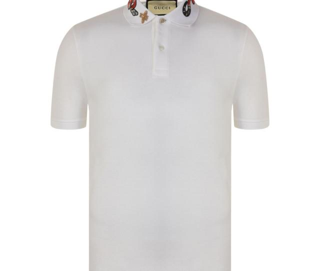 4097f395124 Gucci White Snake Embroidered Polo Shirt For Men Lyst View Fullscreen