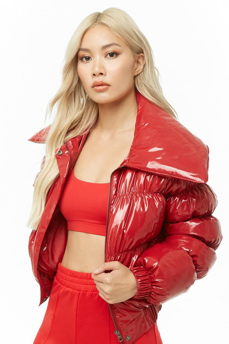 Forever 21 Synthetic Vinyl Puffer Jacket in Red - Lyst
