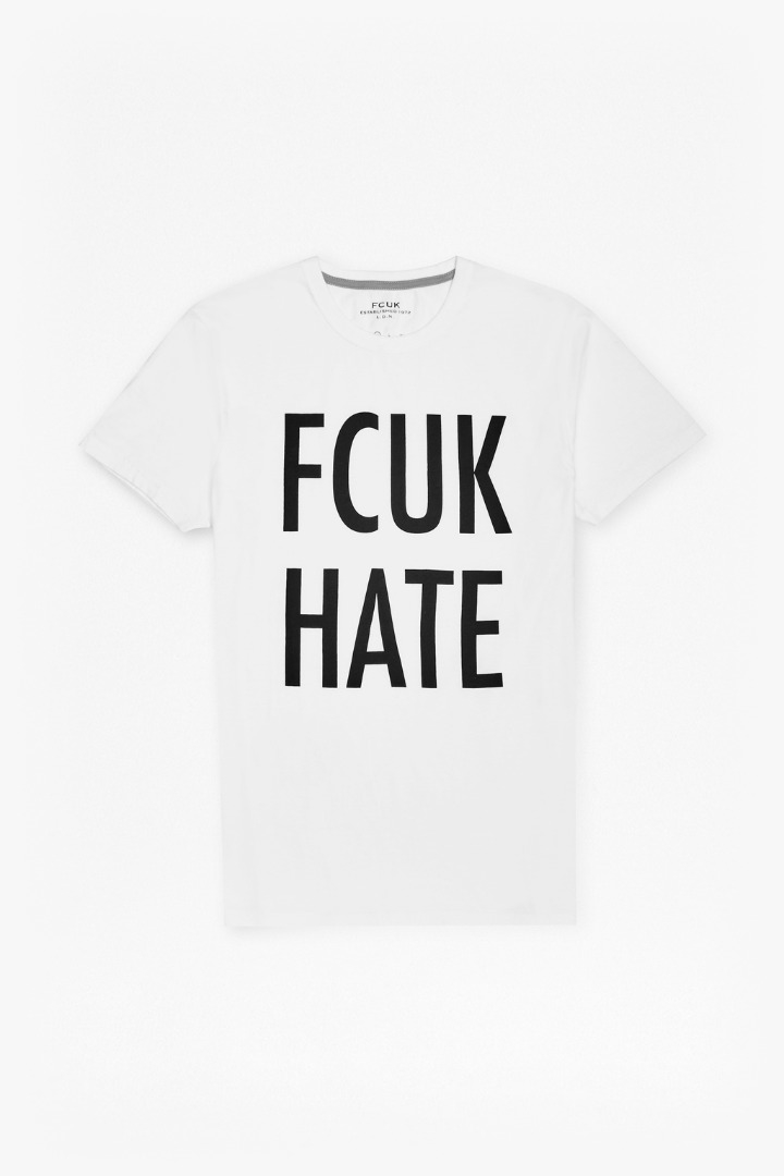 French Connection Cotton Fcuk Hate Slogan T-shirt in White