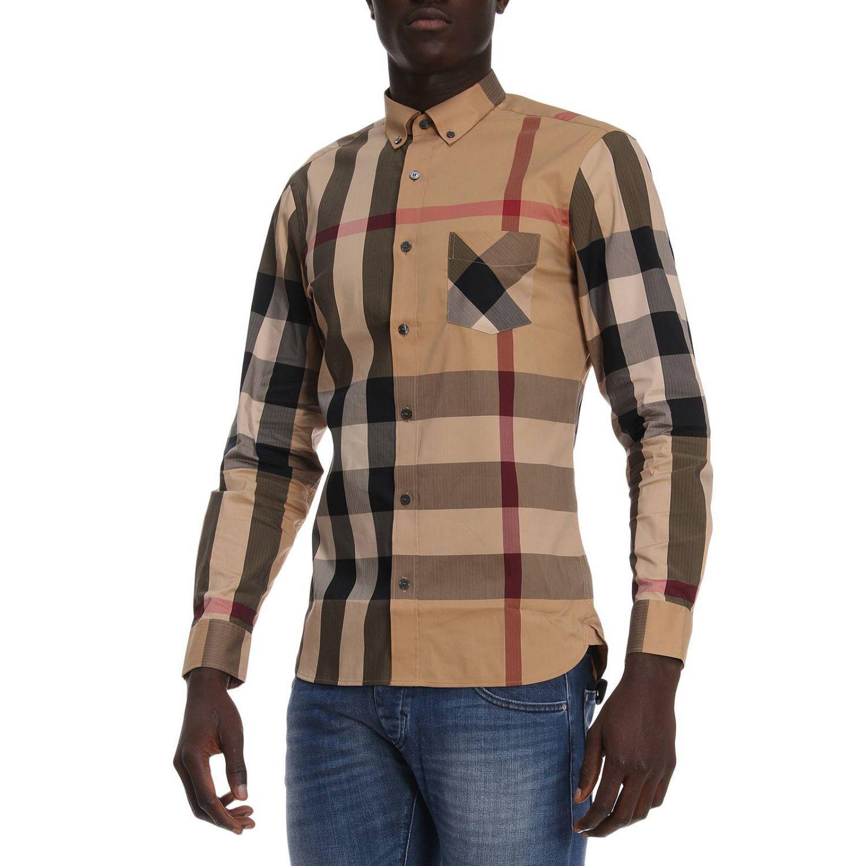 Burberry Cotton Shirt Men in Beige (Natural) for Men - Lyst