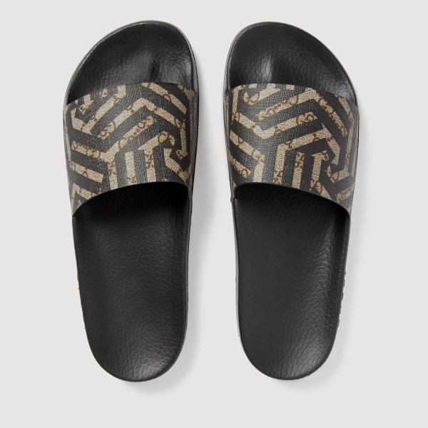 Gucci Canvas Gg Caleido Sandal In Black Men - Lyst