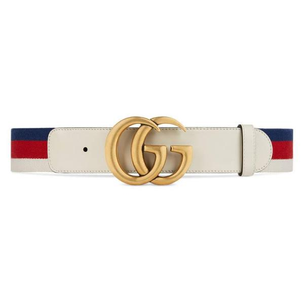 Gucci Sylvie Web Belt With Double Buckle In White