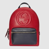 Gucci Soho Leather Chain Backpack in Red