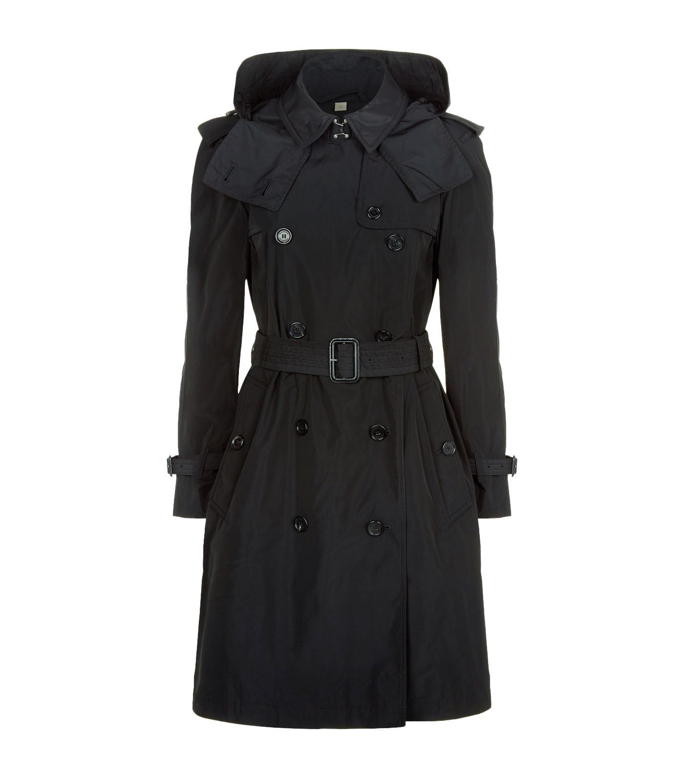 Burberry Amberford Hooded Trench Coat in Black - Lyst