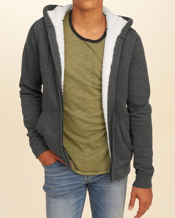 Lyst - Hollister Iconic Sherpa Lined Hoodie In Gray Men