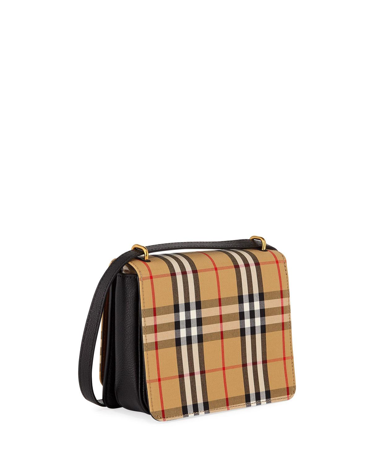Burberry Canvas Small D-ring Check Crossbody Messenger Bag in Brown - Lyst