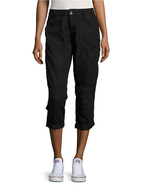 Calvin Klein Jeans Cropped Linen Cargo Pants In Black Lyst