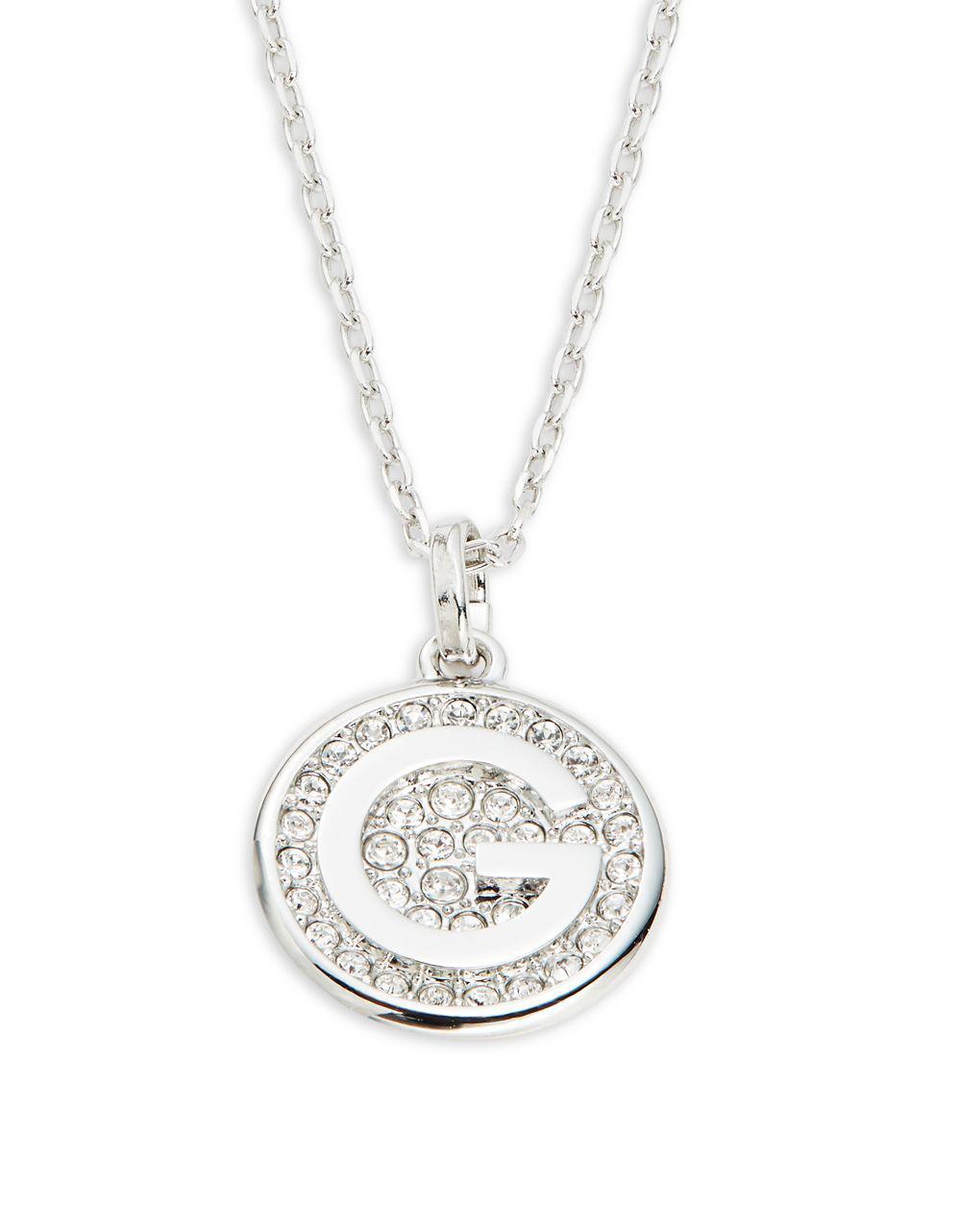 Swarovski Letter Crystal Pavé Medallion Pendant Necklace