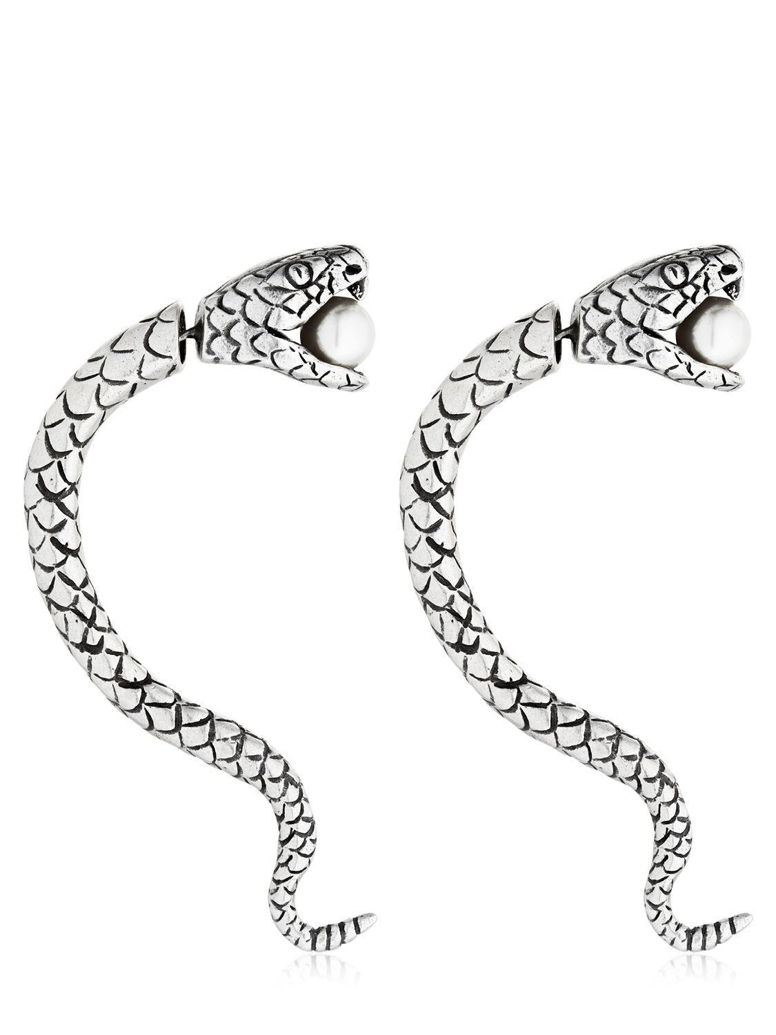 Saint Laurent Snake Earrings With Imitation Pearl in