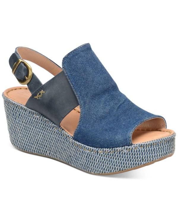 Born Aubryn Wedge Sandals In Blue Lyst