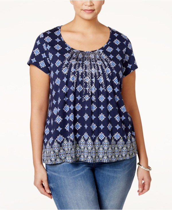 Charter Club Size Printed Embroidered Top