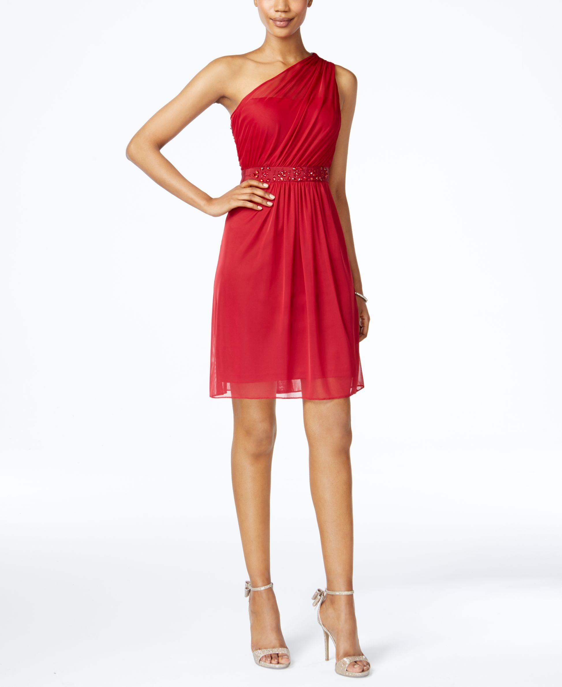 Adrianna Papell One Shoulder Tulle Dress In Red