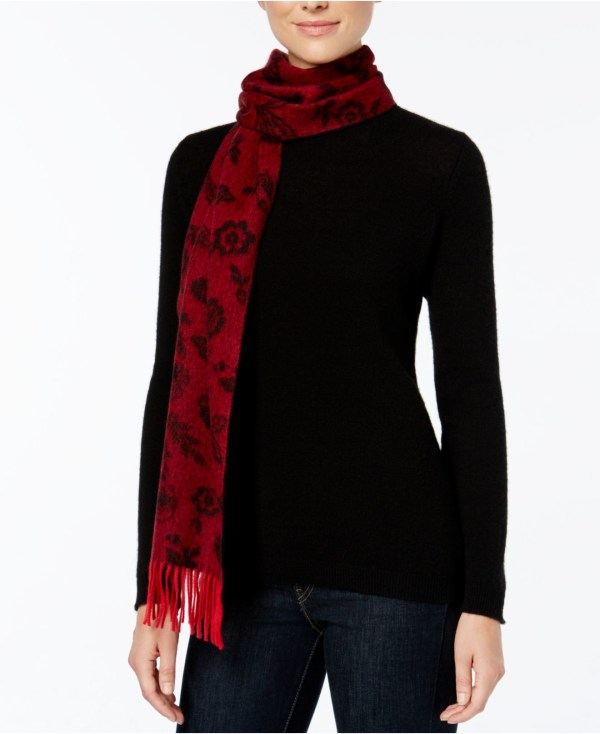 Charter Club Ditsy Floral Woven Cashmere Scarf