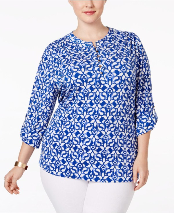Lyst - Charter Club Size Printed Henley Top