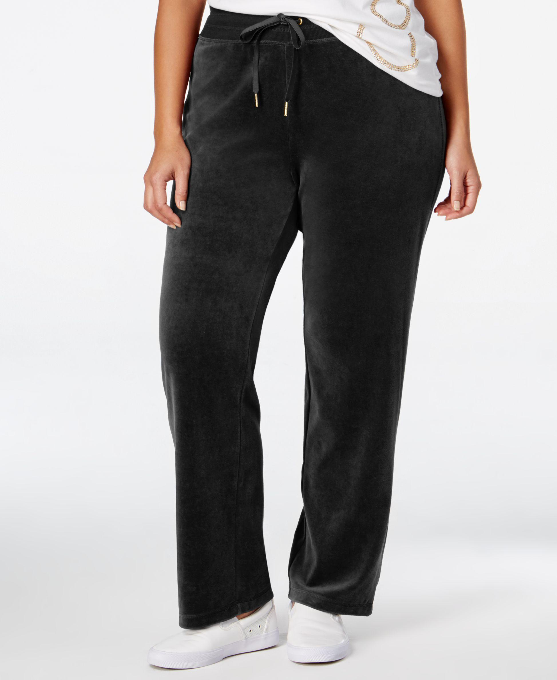Calvin Klein Plus Size Velour Pants In Black