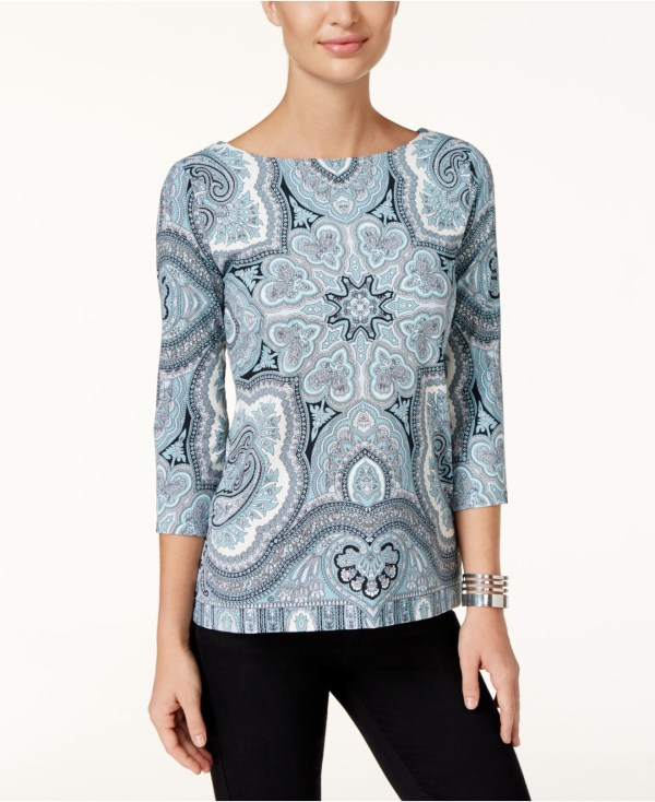 Lyst - Charter Club Size Scarf-print Boat-neck Top