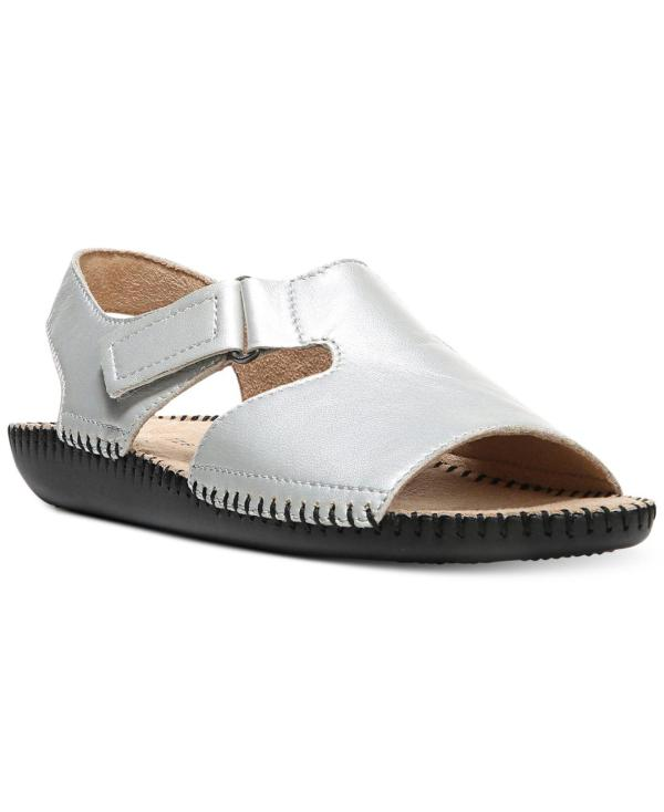Naturalizer Leather Scout Flat Sandals In Silver Metallic - Lyst