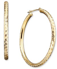 Macy's 14k Gold Diamond-cut Hoop Earrings in Metallic | Lyst