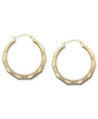 Macy's 10k Gold Earrings, Engraved Hoop in Metallic   Lyst