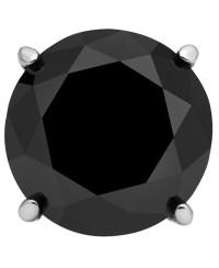 Macy's Men's Stainless Steel Earring, Black Diamond Single ...