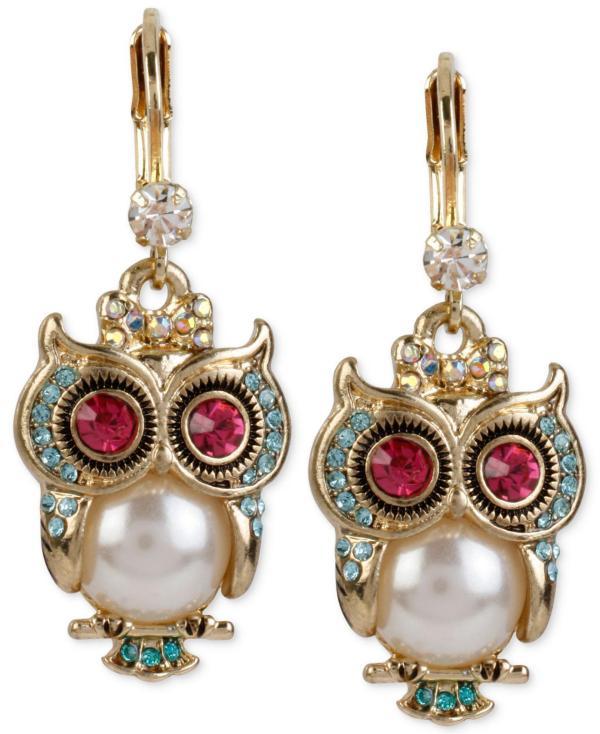 Lyst - Betsey Johnson Gold-tone Ornate Owl Drop Earrings