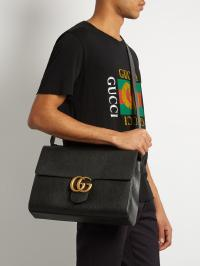 Gucci Gg Marmont Grained-leather Messenger Bag in Black ...