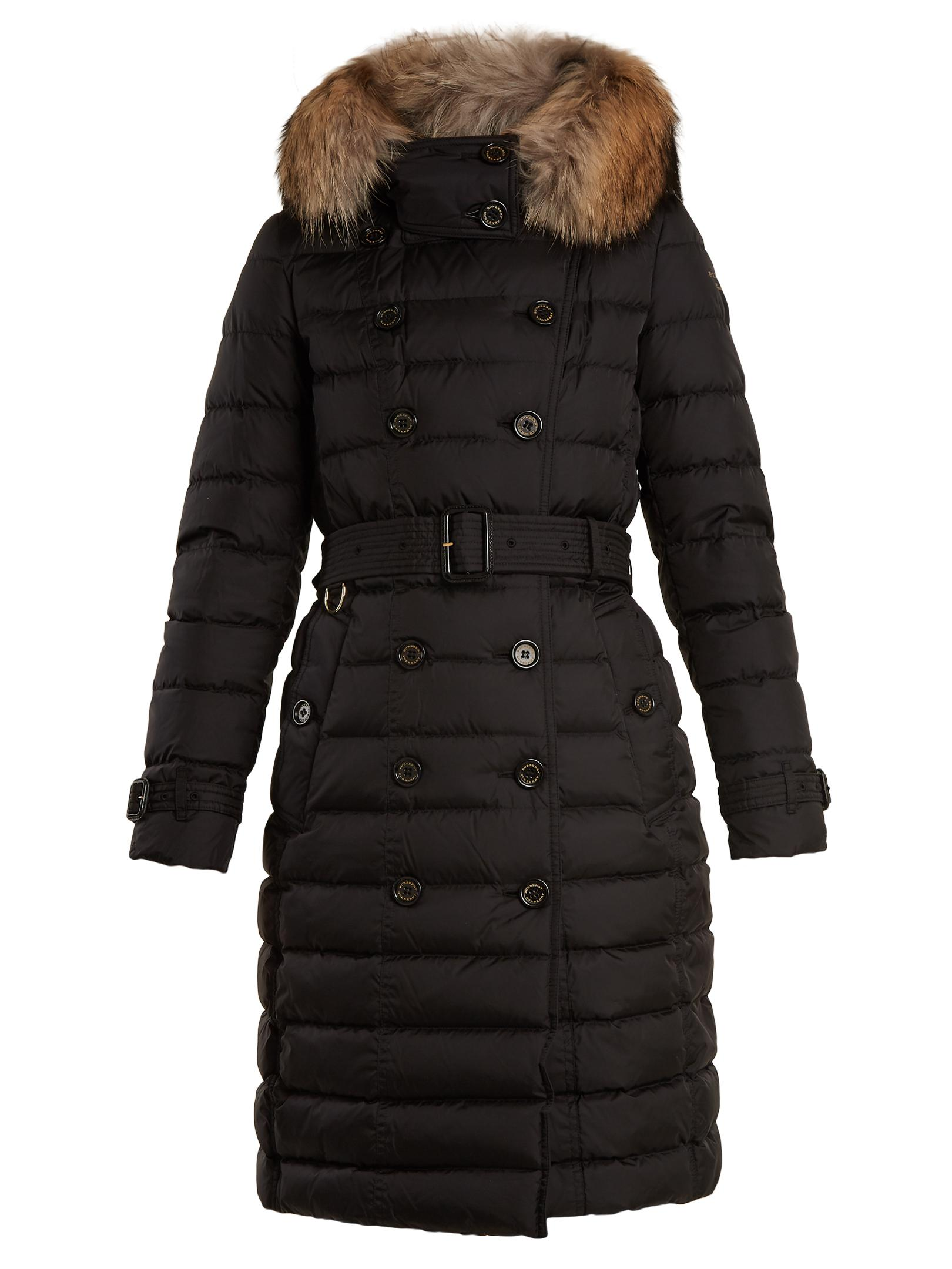 Lyst  Burberry Dalmerton Furtrimmed Belted Quilteddown
