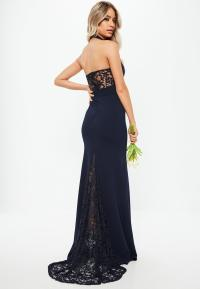 Lyst - Missguided Bridesmaid Navy Halterneck Lace Insert ...