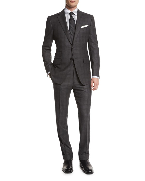 Tom Ford Black Suit Plaid