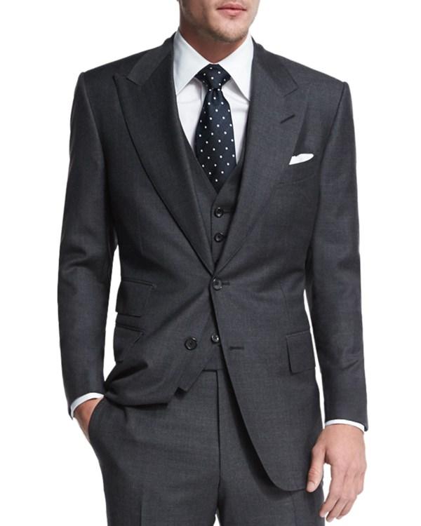 Tom Ford Windsor Base Sharkskin Three-piece Suit In Gray Men Lyst