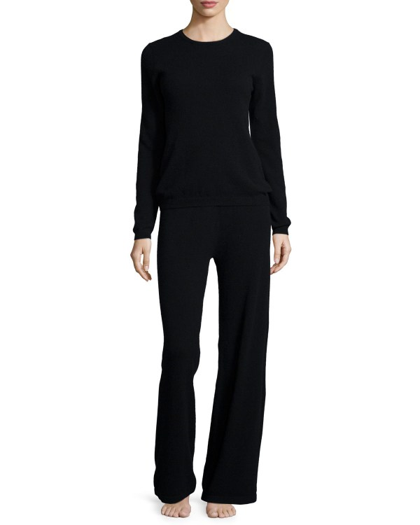 Neiman Marcus Cashmere Sweater & Pant Lounge Set In Black