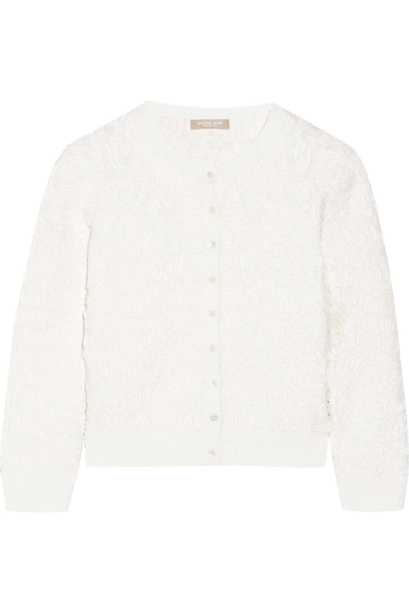 Michael kors Cropped Soutache Stretch-knit Cardigan in