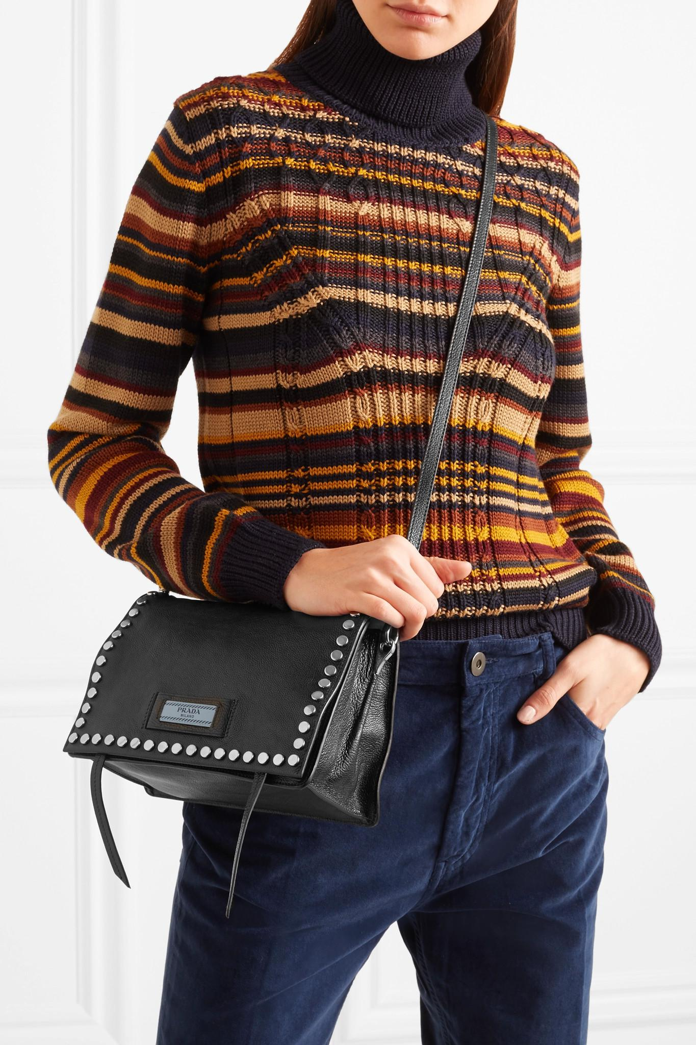 Prada Etiquette Small Studded Textured-leather Shoulder Bag in Black - Lyst