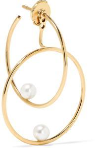 Lyst - Anissa kermiche 14-karat Gold Pearl Hoop Earring in ...
