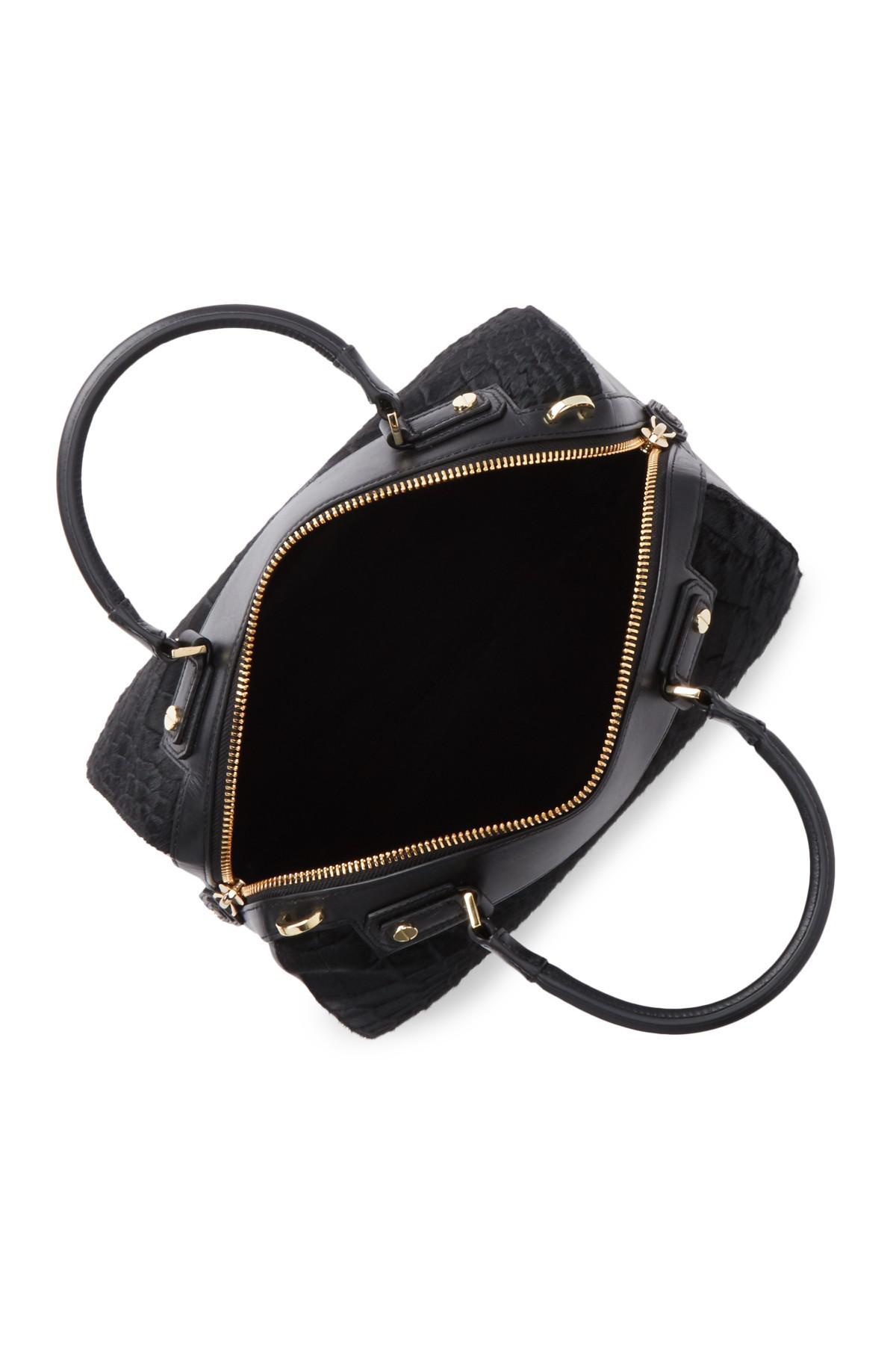 Alice + Olivia Leather Eloise Crocodile Embossed Genuine Dyed Calf Hair Bowler Bag in Black - Lyst