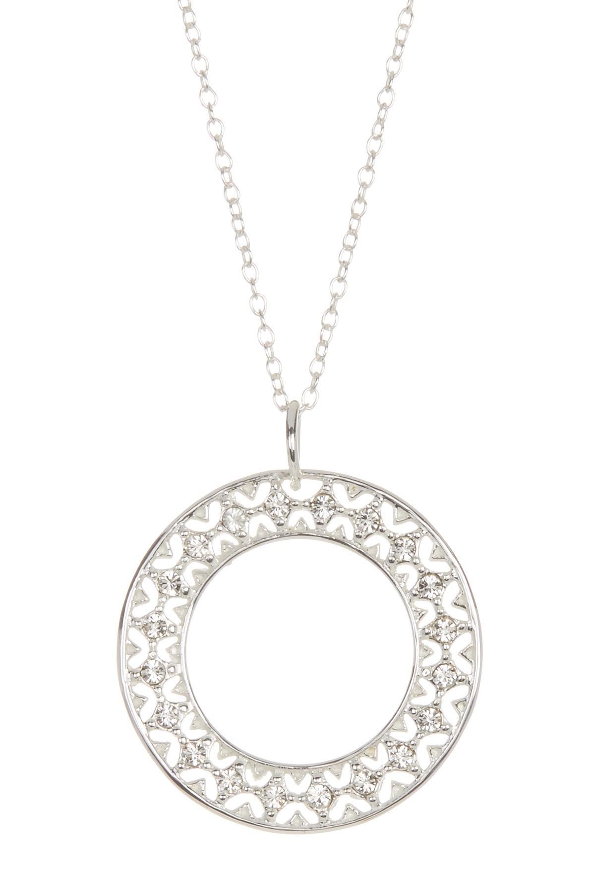Argento vivo Sterling Silver Filigree Cz Pendant Necklace