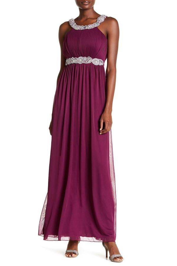 Lyst - City Triangles Pleated Bodice Gown In Purple